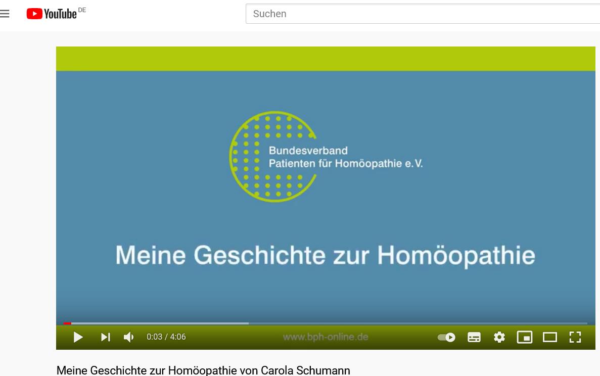 Screenshot Geschichte zur Homöopathie von Carola Schumann